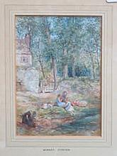 FRAMED WATERCOLOUR DEPICTING A FAMILY RESTING BY A STREAM, UNSIGNED, POSSIBLY BIRKET FOSTER, APPROXIMATELY 16.5cm x 11.5cm