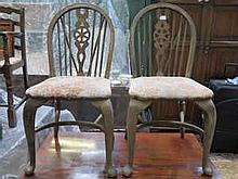 PAIR OF STRIPPED COUNTRY STYLE WHEEL BACK CHAIRS ON CABRIOLE SUPPORTS