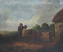 GILT FRAMED OIL ON CANVAS DEPICTING A COUNTRY COTTAGE SCENE, APPROXIMATELY 63cm x 75cm