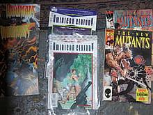 BOX CONTAINING APPROX. 80+ MARVEL, AND OTHER SUPER HERO COMICS MAINLY AMERICAN ISSUE INCLUDING NYX, NEW MUTANTS, VOODOO ETC. .