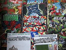 BOX CONTAINING APPROX. 150 + MARVEL, DC AND OTHER SUPER HERO COMICS MAINLY AMERICAN ISSUE INCLUDING SPIRIT, THE GREEN LANTERN, WILD CATS ETC.