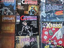 BOX CONTAINING APPROX. 150+ MARVEL, DC AND OTHER SUPER HERO COMICS MAINLY AMERICAN ISSUE INCLUDING CAT WOMAN, HELL BLAZER, X FORCE, DEMON ETC.