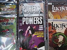BOX CONTAINING APPROX. 150+ , DC AND OTHER SUPER HERO COMICS MAINLY AMERICAN ISSUE INCLUDING LUCIFER, HITMAN, KNOCKOUT ETC.