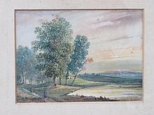 C. FIELDING, GILT FRAMED WATERCOLOUR DEPICTING A LAKESIDE SCENE, APPROXIMATELY 15cm x 20cm