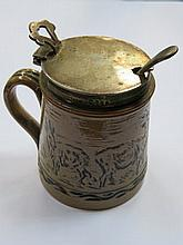 DOULTON HALLMARKED SILVER TOPPED CERAMIC MUSTARD POT