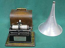 OAK CASED EDISON GEM PHONOGRAPH WITH HORN AND APPROX. 90 ROLLS