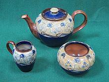 ROYAL DOULTON TUBE LINED ART NOUVEAU STYLE THREE PIECE TEA SET