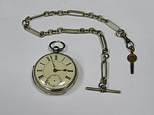 HALLMARKED SILVER POCKET WATCH WITH ENAMELLED DIAL AND ALBERT CHAIN
