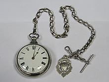 HALLMARKED SILVER PEAR CASED POCKET WATCH ON SILVER ALBERT CHAIN AND FOB