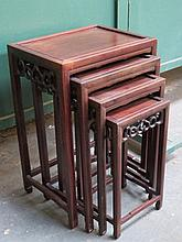 ORIENTAL STYLE NEST OF FOUR TABLES