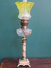 STELLAFORM CARBON OIL LAMP WITH CLEAR GLASS RESERVOIR AND YELLOW ACID ETCHE