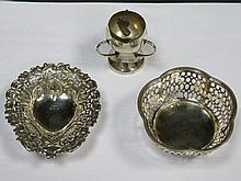 TWO SILVER PIERCEWORK DECORATED RECEIVERS AND SMALL THREE HANDLED CUP