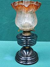 DUPLEX VICTORIAN OIL LAMP WITH CRANBERRY COLOURED ACID ETCHED TULIP GLASS S