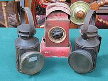 THREE VINTAGE CARRIAGE LAMPS