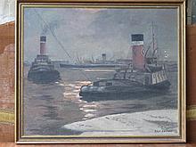 R.V.F. CROOKE, FRAMED OIL ON BOARD DEPICTING TUG BOATS, APPROXIMATELY 50cm