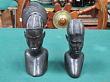PAIR OF EBONISED AFRICAN STYLE CARVED TREEN BUSTS