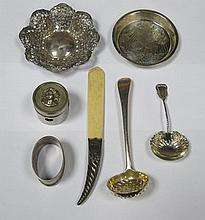 SILVER RECEIVER, TEA STRAINER, CADDY SPOON, NAPKIN RING, LETTER KNIFE AND P