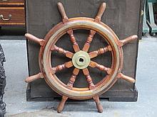VINTAGE BRASS MOUNTED OAK SHIP'S WHEEL