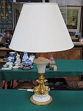 MODERN GILT METAL AND MARBLE EFFECT TABLE LAMP