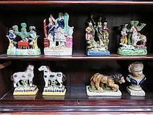 EIGHT VARIOUS REPRODUCTION STAFFORDSHIRE FIGURES
