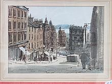 FRAMED WATERCOLOUR DEPICTING 'HILLTOWN', SIGNED AND DATED ANDREW NELLSON 19