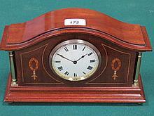 REPRODUCTION MAHOGANY INLAID MANTEL CLOCK