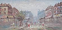 FRAMED OIL ON BOARD DEPICTING A PARISIAN STREET SCENE, APPROXIMATELY 30cm x