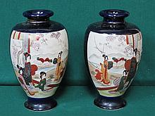 PAIR OF ORIENTAL STYLE HANDPAINTED CERAMIC VASES, APPROXIMATELY 30cm HIGH