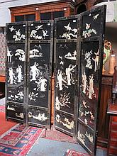 ORIENTAL STYLE BLACK LACQUERED MOTHER OF PEARL DECORATED FOUR FOLD DRESSING