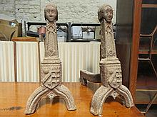 PAIR OF LARGE VICTORIAN CAST IRON FIRE DOGS