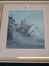 FRAMED WATERCOLOUR DEPICTING A VILLAGE SCENE WITH CHURCH, UNSIGNED, POSSIBL
