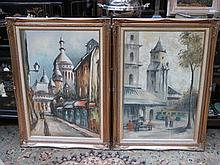 PAIR OF FRAMED OIL ON CANVASES DEPICTING CONTINENTAL STYLE STREET SCENES, A