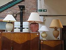 SIX VARIOUS TABLES LAMPS