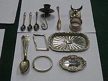 PARCEL OF SILVER ITEMS INCLUDING RECEIVER, BANGLE . PLATED SPOONS, NAPKIN R