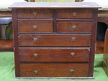 MINIATURE ANTIQUE OAK CHEST OF SEVEN DRAWERS, APPROXIMATELY 48cm HIGH