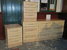 GOOD QUALITY MODERN NINE DRAWER CHEST AND PAIR OF THREE DRAWER BEDSIDE CHES