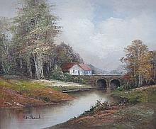 FRAMED OIL ON CANVAS DEPICTING A RIVER SCENE WITH BRIDGE AND COTTAGE, APPRO