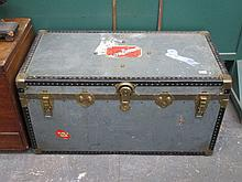 VINTAGE TRAVEL TRUNK WITH BLUE STAR LINE PAPER LABELS