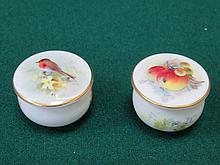 PAIR OF PRETTY MINIATURE ROYAL WORCESTER HANDPAINTED AND GILDED CERAMIC POT