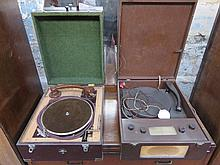 TWO VINTAGE RECORD PLAYERS