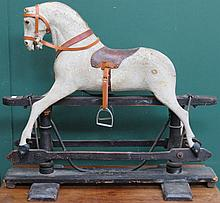 GOOD QUALITY LATE VICTORIAN CHILD'S WOODEN ROCKING HORSE FOR RESTORATION, W