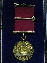 CASED SILVER GILT MASONIC STANDARD CHAPTER OFFICERS BREAST JEWEL, NUMBER 33