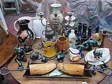 SUNDRY CERAMICS, PLATEDWARE, VARIOUS BLUE MOUNTAIN ANIMALS ETC.