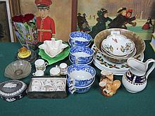 SUNDRY LOT OF CERAMICS AND GLASS INCLUDING ROYAL WORCESTER, DRESDEN, ETC.