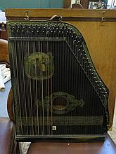 WOODEN CASED EBONISED ZITHER