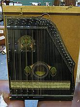 WOODEN CASED EBONISED ENGLE-GUITAR ZITHER