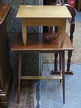 SMALL MAHOGANY TABLE AND SMALL OAK STOOL
