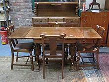 CARVED OAK DRAW LEAF DINING TABLE, FOUR CHAIRS AND SIDEBOARD