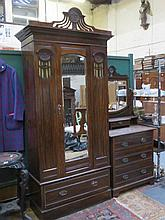 ART NOUVEAU SINGLE DOOR MAHOGANY MIRRORED WARDROBE AND DRESSING TABLE