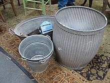 FOUR VARIOUS GALVANISED BINS/BUCKETS AND CONTENTS